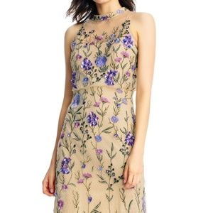3D Floral Sequin Embroidered Cocktail Dress with I
